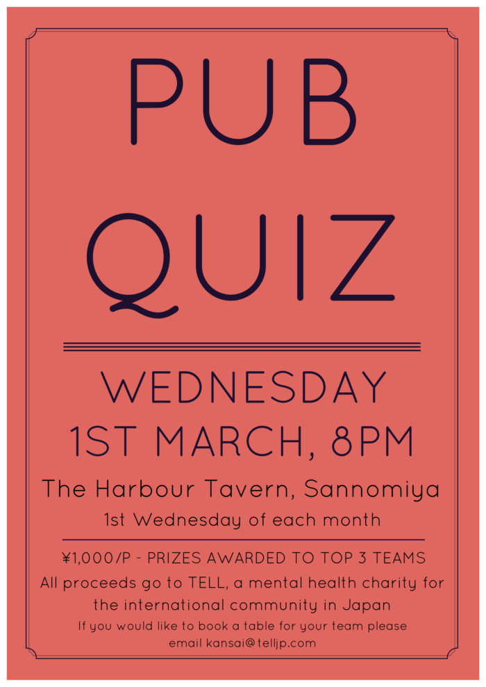 Pub Quiz for TELL: Kobe Launch Night - Kansai Finder